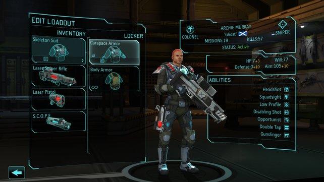 Unser Sniper kann genau einen Gegenstand mitnehmen: Wir wählen natürlich das Zielfernrohr.