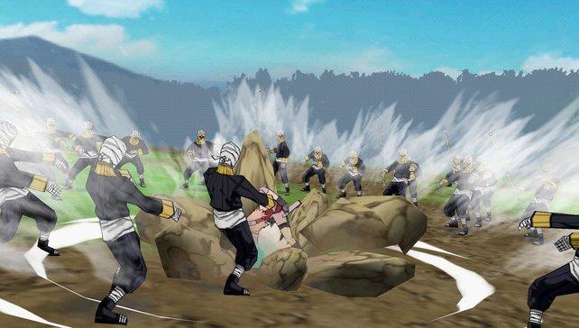Sakura nimmt neben Gegnern auch den Boden auseinander.