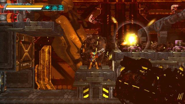 Im Gegensatz zu Vorbild Mega Man kann Ares in alle Richtungen schießen.