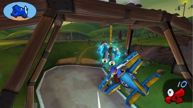 Hier fliegt ihr mit Sly durch die Lüfte.