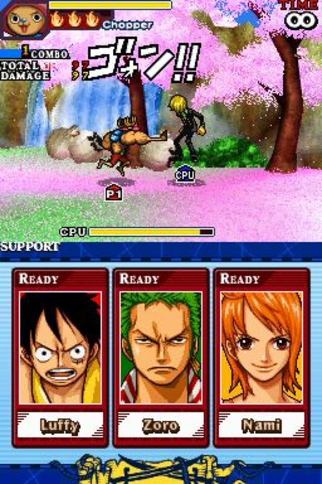 Auf dem oberen Bildschirm kämpft ihr gegen euren Gegner. Unten seht ihr eure Unterstützungs-Charaktere.