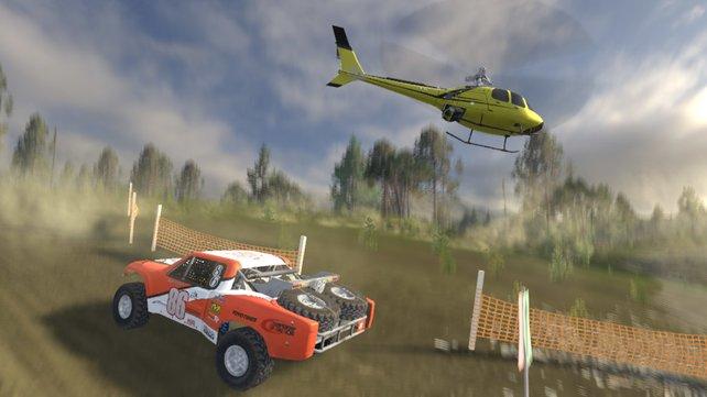 """Nicht die """"gelben Engel"""", aber genauso hilfsbereit: Hubschrauber bei Rallyes."""