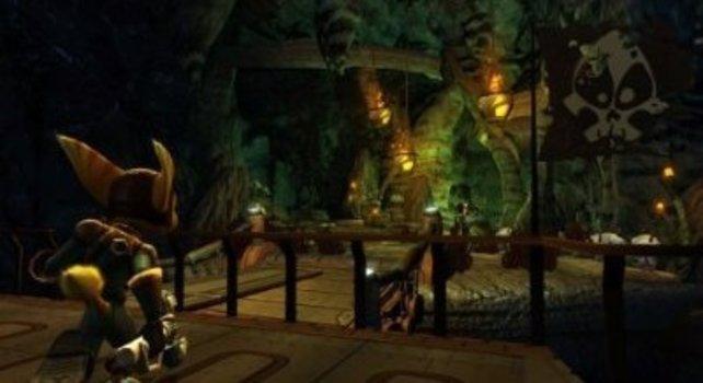 Ohne Lichtquelle wird Ratchet in den Höhlen von Fledermäusen angegriffen.
