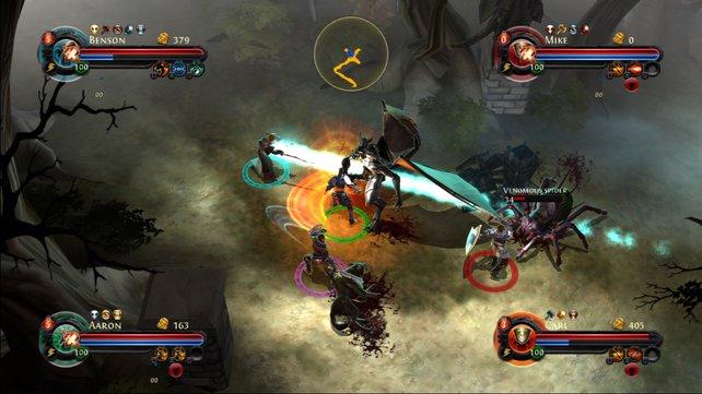 Dungeon Hunter: Alliance füllt den Bildschirm mit viel Gewusel und bunten Effekte.