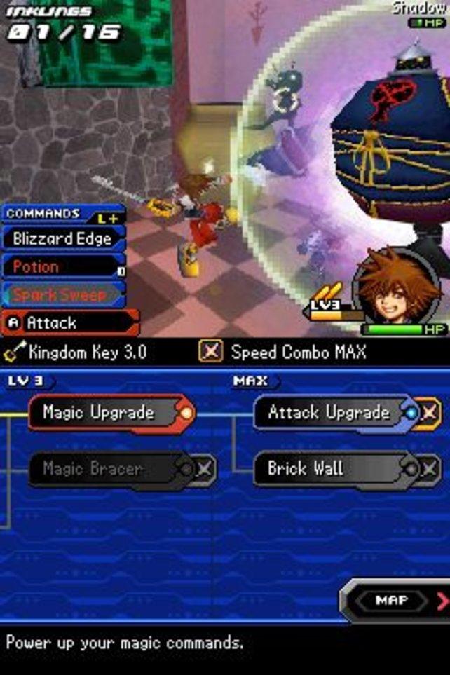 Kommandos und Schlüsselschwert-Spezialattacken bestimmen Soras Kampfmanöver.