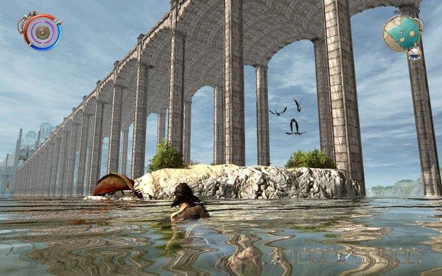 Die Heldin kann auch schwimmen, unsichtbare Grenzen stoppen den Entdeckerdrang aber.