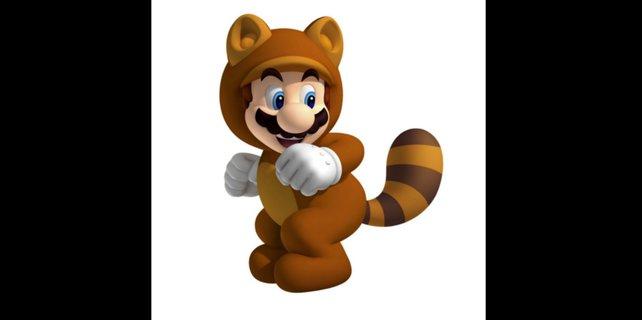 Mit seinem Waschbären-Kostüm kann Mario durch die Luft gleiten.