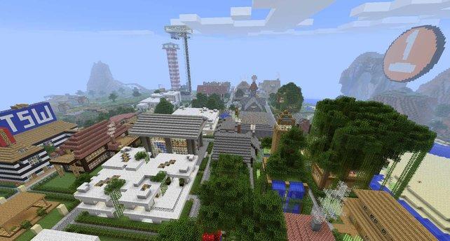 Diese große Stadt ist auf dem spieletipps-Minecraft-Server innerhalb weniger Tage entstanden.