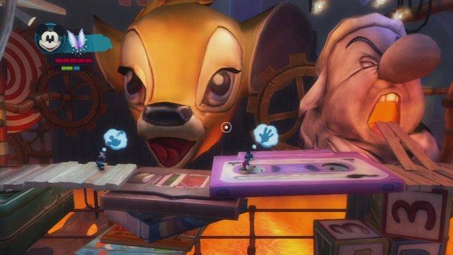 Die 2D-Levels gefallen mit klassischem Spielablauf und überraschenden Hintergründen.