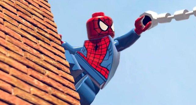 Spider-Man kann sich an Wänden festkleben und Netze abschiessen.