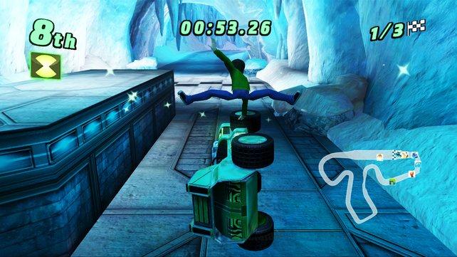 Ben turnt beim Autofahren herum (Bild aus Wii-Version).