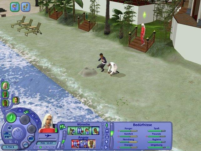 Als aller erster versuchen sich meine Sims beim Bau einer Sandburg