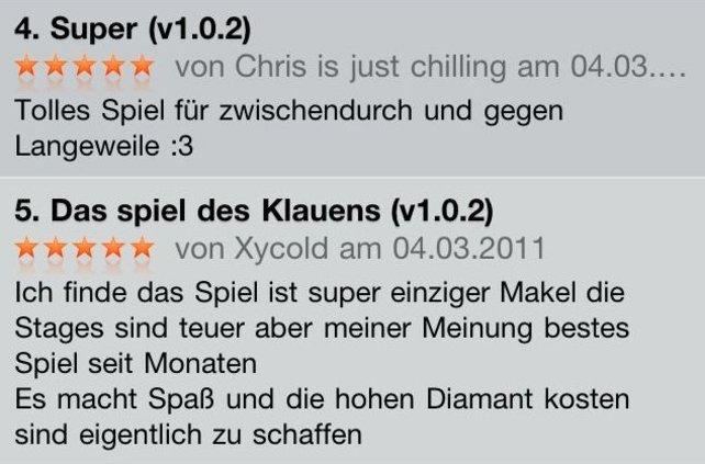 App-Kommentare auf dem iPhone