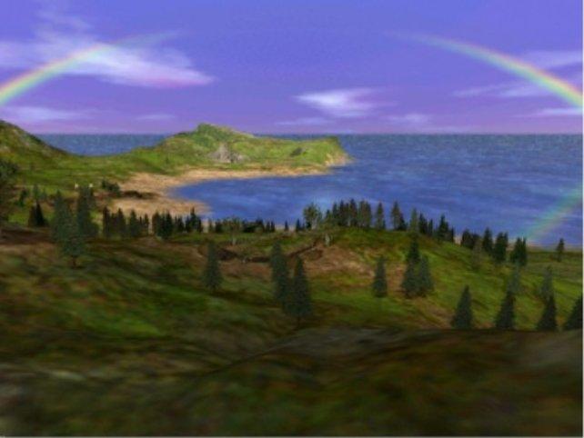 Wunderbare Landschaft mit Regenbogen
