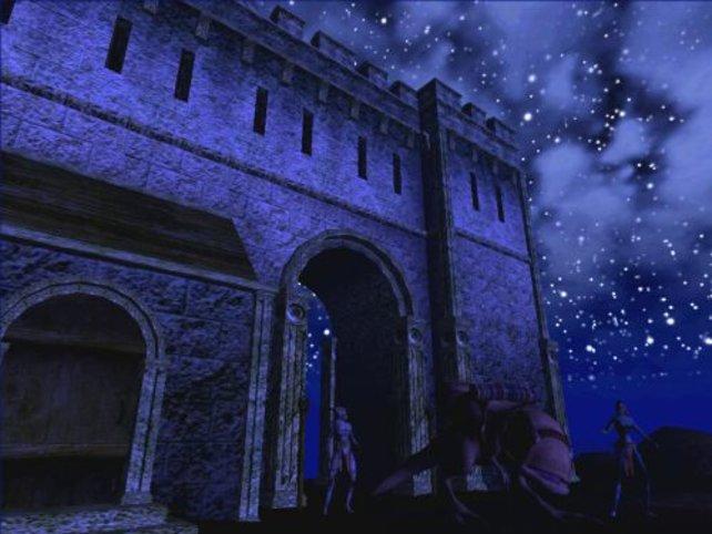 Eine der tollen Burgen in einer klaren Nacht