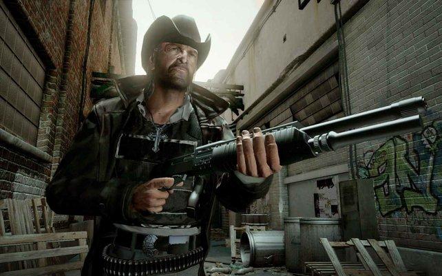 Revolver gibt es zwar auch, aber moderne Waffen wie die Schrotflinte sind effektiver.