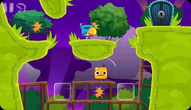 Schiebt Kisten und Würfel an die richtigen Stellen, damit der Vogel oben nicht in den Abgrund stürzt.