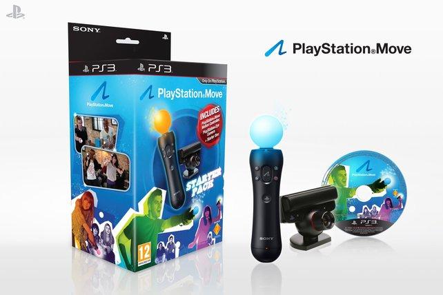 Auch mit im Paket: Das Starter Kit für PlayStation Move. Außerdem vier Controller und zwei Mikrofone für Singstar.
