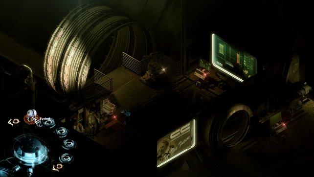 Das Raumschiff befindet sich im Zerfall und ist daher in dunklen Tönen gehalten.