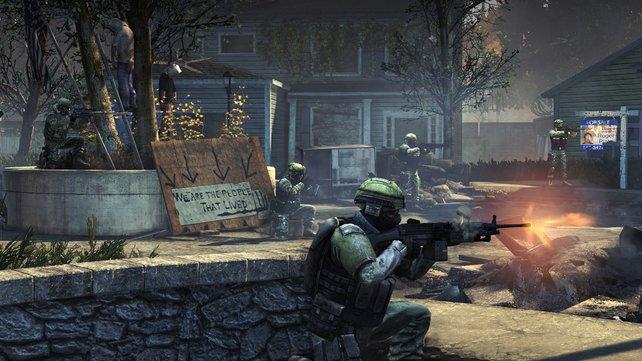 Eine kleine Vorstadt bietet sich an für den Nahkampf gegen feindliche Spieler.
