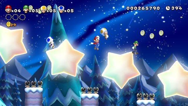 Die Sterne in New Super Mario Bros. U sind knifflig: Springt ihr auf sie, drehen sie sich physikalisch korrekt.