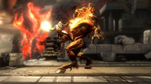 Ohne viele Worte verteilt Kratos Schläge. Ein echter Mann halt.