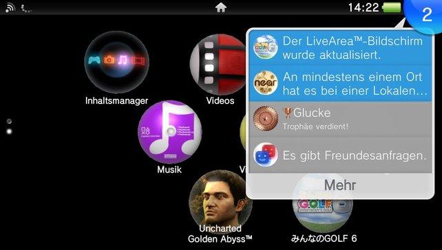 """Applikationen und Spiele bildet der Startbildschirm in Form runder """"Pillen"""" ab."""