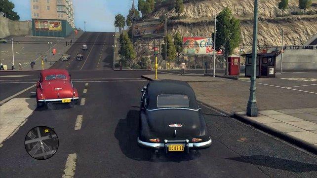 Mit dem Dienstauto fahrt ihr zum nächsten Tatort.