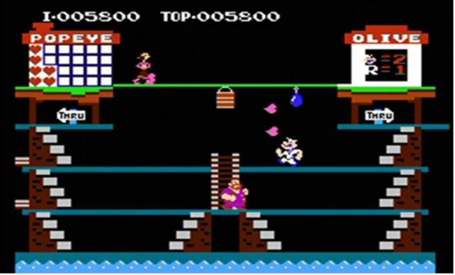 Das Spiel Popeye stammt noch aus der Spielhalle. Neben Donkey Kong und Donkey Kong Jr. ist es einer der ersten Famicom-Titel.