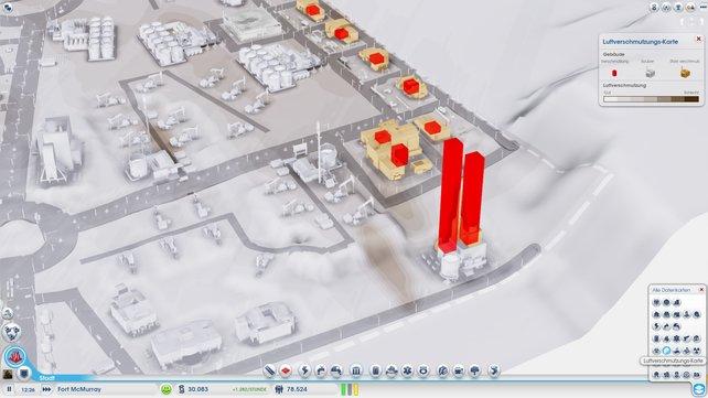 Die roten Balken der Luftverschmutzungs-Karte zeigen den Grad der Verschmutzung an.