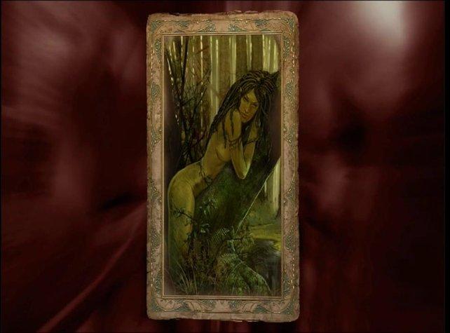 Geralt überredet die Dryade Morenn, sich mit seiner Hilfe zu entspannen.