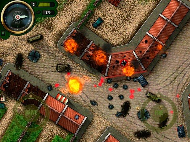 Mit dem eigenen Panzer startet ihr eine Zerstörungsorgie durch große Szenarien.