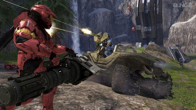 Mit den wuchtigen Waffen geht im Mehrspielermodus die Post ab.