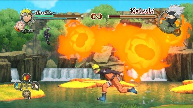 Zieht ihr genügend von Kakashis Lebensenergie ab, beendet ein Quick-Time-Ereignis das Duell auf penetrante Weise.