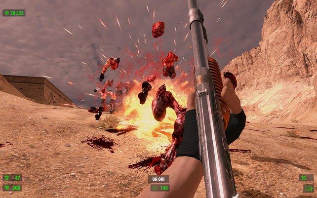Manche Feinde explodieren bei Beschuss.