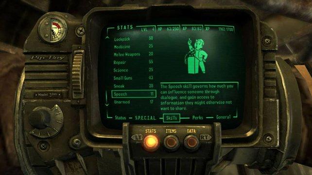 Der Pip-Boy zeigt alle Infos über Quests, Skills und sonstige Infos an.