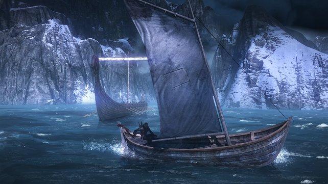 Mit seinem Boot überbrückt Geralt auch Seewege, vorausgesetzt die See ist ruhig.