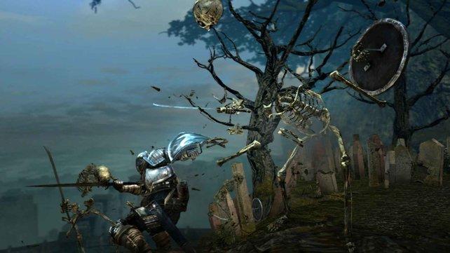 Solche Skelette sind die ersten Feinde im Spiel.