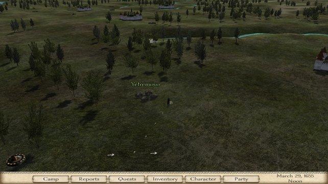 Auf dieser Karte steuert ihr eure Armee zu Städten oder greift feindliche Truppen an.