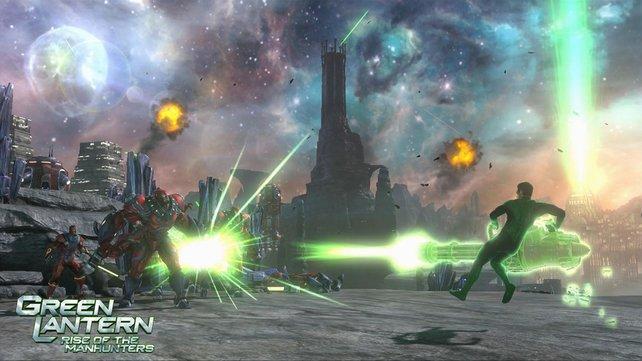 """Green Lantern kann mit Hilfe seines Ringes und seiner Vorstellungskraft fast alle Waffen """"beschwören""""."""