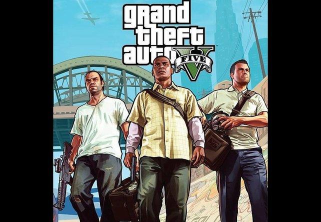 Die drei Hauptcharaktere Trevor, Franklin und Michael (von links).