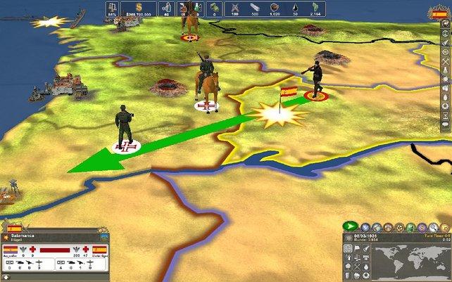 Gefechte stellt das Spiel lediglich als gelbe Sterne dar.