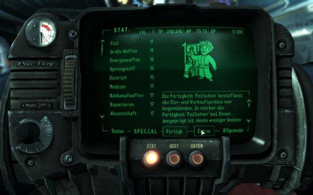 Der Pip-Boy 3000 hält alle Infos bereit, die Optik ist aber etwas arg antiquiert.