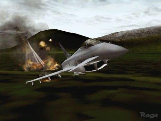 Der Eurofighter nach einem Bombenabwurf