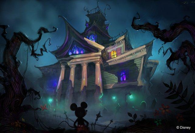 Dunkel und angsteinflößend: Micky muss die Gebiete wieder mit Farbe füllen.
