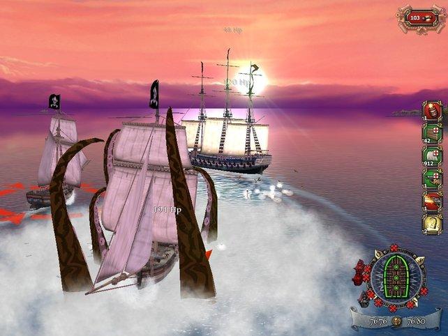 Eine Krake holt ein feindliches Schiff