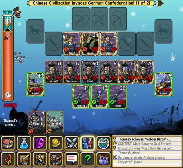 Wie bei einem Kartenspiel legt ihr eigene Einheiten für den Kampf aus.
