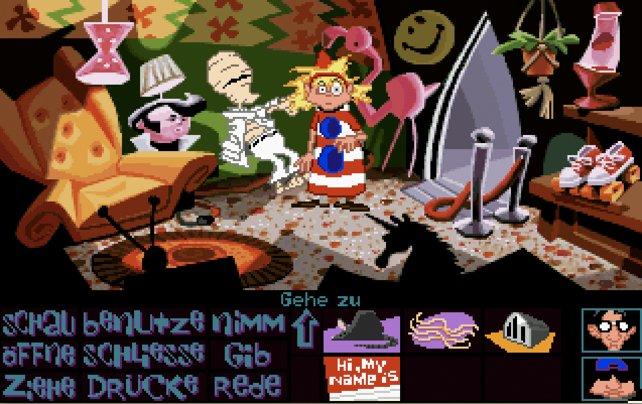 Zum Vergleich ein Bild von Day of the Tentacle (1993) - Deponia spielt inhaltlich auf ähnlichem Niveau.