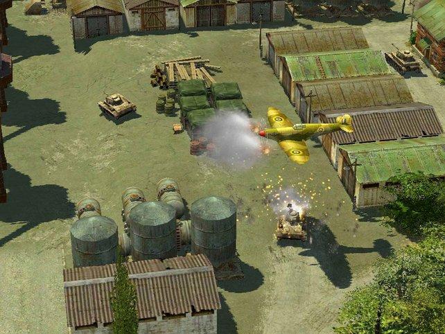Eine Spitfire beschießt einen Panzer