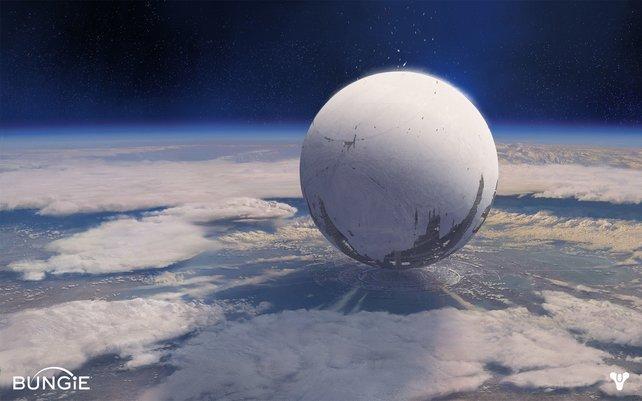 Dieses Alien-Raumschiff - Der Reisende genannt - schwebt schützend über der letzten Erdenstadt.